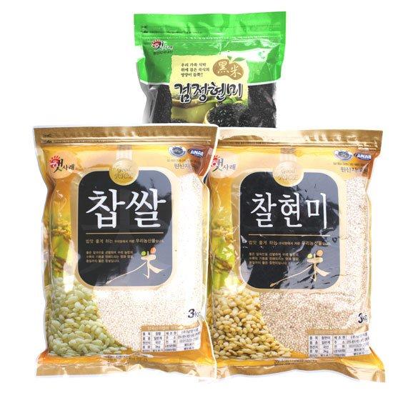 [무료배송]찹쌀3kg+찰현미3kg+검정현미800g