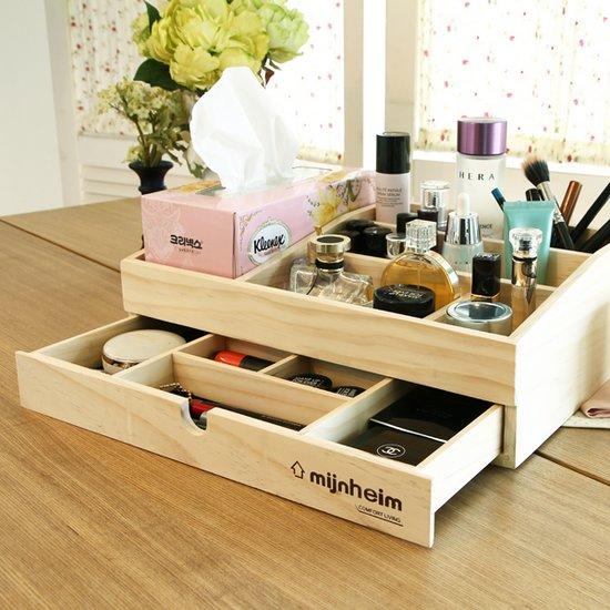 에코 화장품 정리함 티슈+서랍형 원목