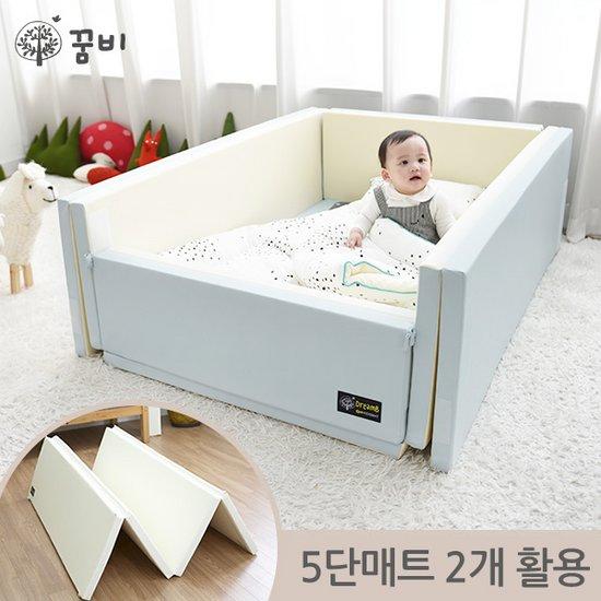 [꿈비 짱짱매트] 변신 범퍼침대매트-인디블루5단폴더2개 / 놀이방 아기유아매트