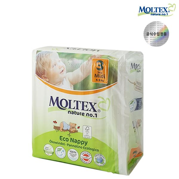 몰텍스 네이처기저귀 미디 3단계(4-9kg) 1팩(34매)