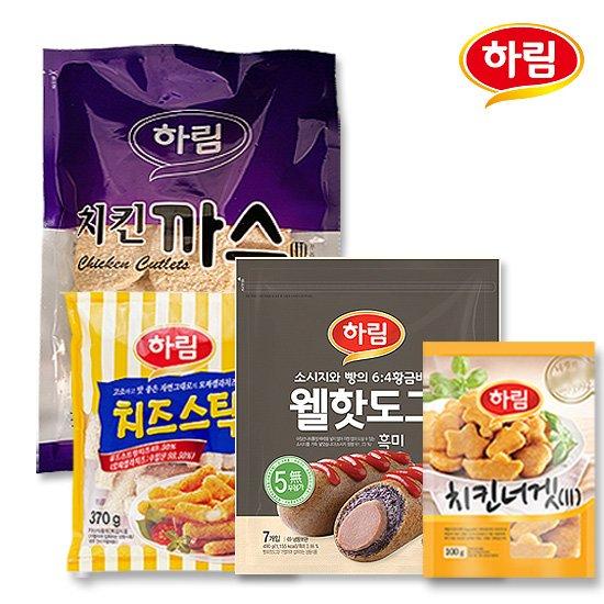 하림 치킨까스+치즈스틱+웰핫도그흑미+치킨너겟 세트