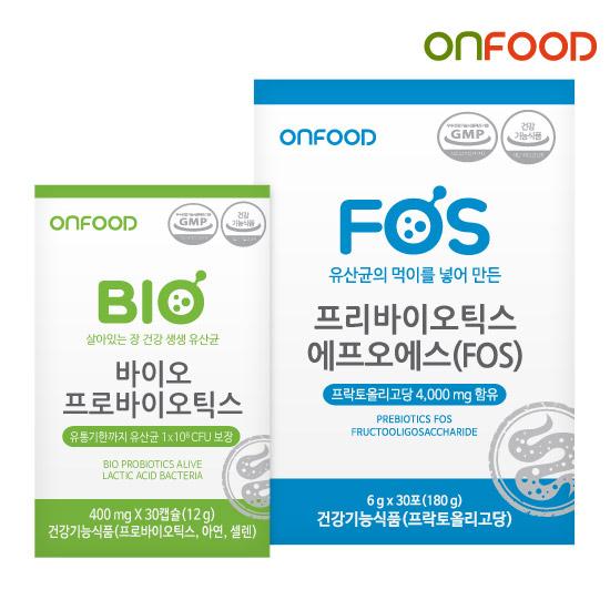 온푸드 바이오 프로바이오틱스+프리바이오틱스FOS 1세트