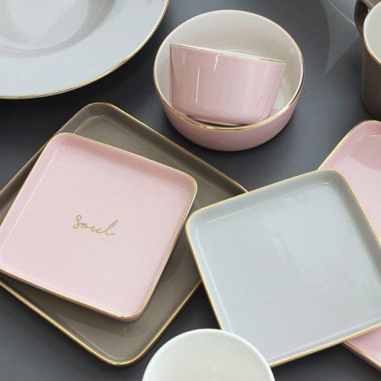 [쓰임] 소울 핑크&그레이 사각접시 소