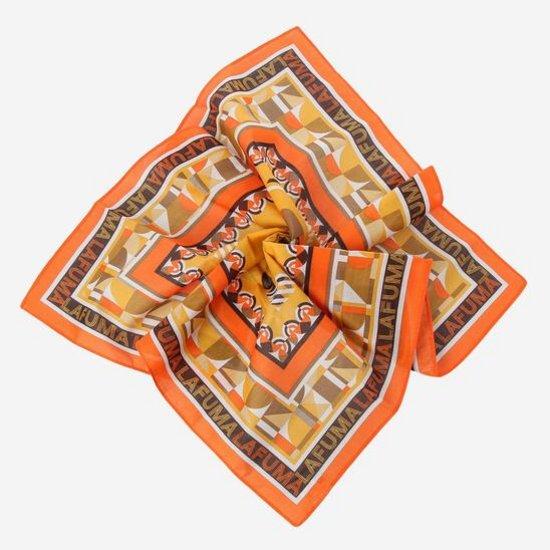 라푸마 남성 라이트오렌지 프린트 반다나 스카프 LESC7G001O1