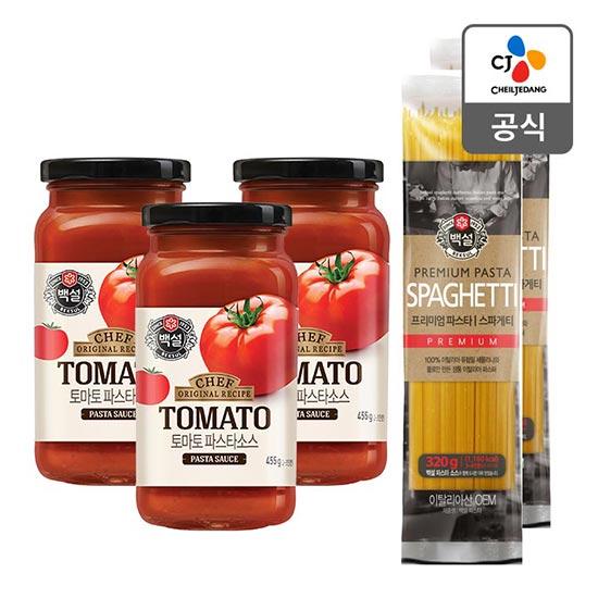 백설 토마토 파스타소스 455g x 3개 + 백설 스파게티면 320g x 2