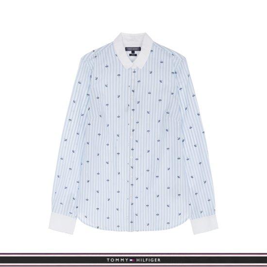 타미힐피거  여성 핏티드 스트라이프 미니 우산 프린트 셔츠  T