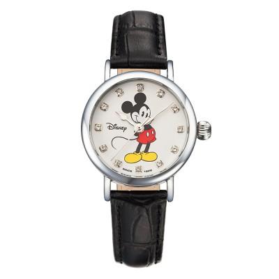 텐바이텐 스위스밀리터리 디즈니 미키마우스 여성용 가죽밴드 손목시계 OW096BK