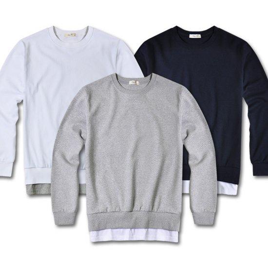 YMT1666 무지레이어드 남자 맨투맨 티셔츠