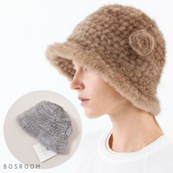 [BOSROOM]여자 밍크퍼 탈부착 브러치 모자 3컬러