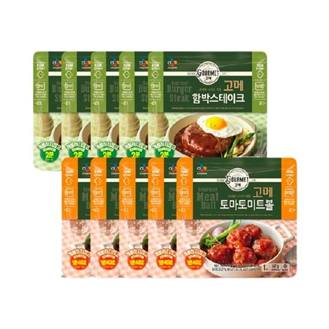 [CJ] 고메 함박스테이크 152g x5개 + 토마토미트볼 147g x5개
