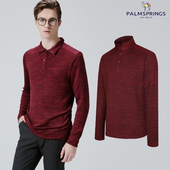 [팜스프링스]남성 하이넥 스냅 티셔츠 와인