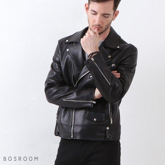 [BOSROOM]남자 양가죽 기본 라이더 자켓 블랙
