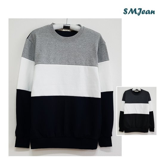SMJ453s 3배색 맨투맨 라운드 남자 긴팔 티셔츠 남성 긴팔티