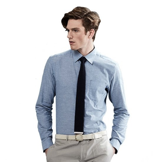 [페리젠슨]린넨혼방 블루 베이직 캐주얼셔츠.NCL17111