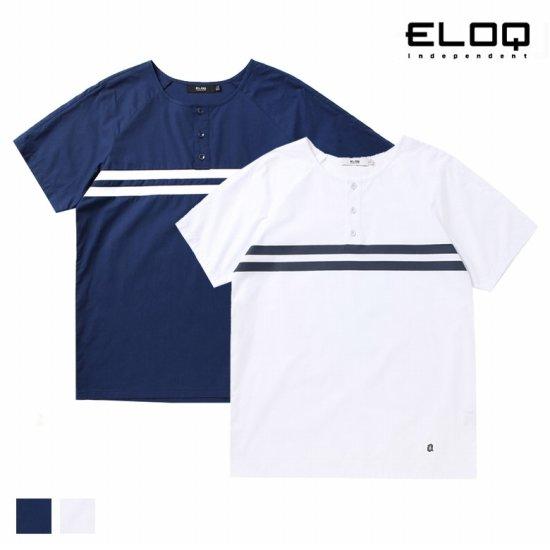 ELOQ 남성 1/2 오픈 가슴 프린트 셔츠B164MSH136M
