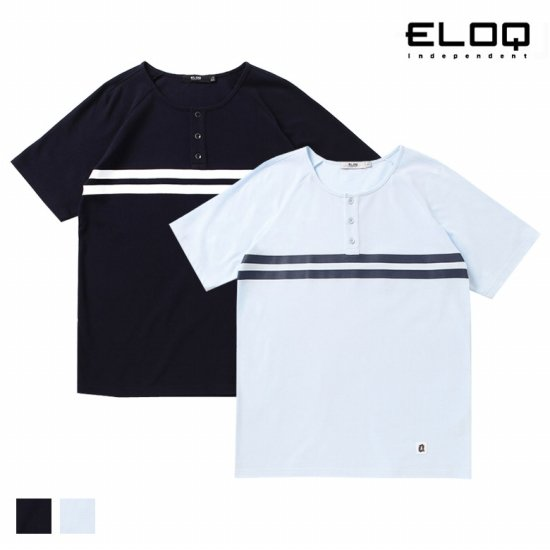 ELOQ 남성 1/2 오픈 가슴 프린트 PQ 티셔츠B164MTS126M