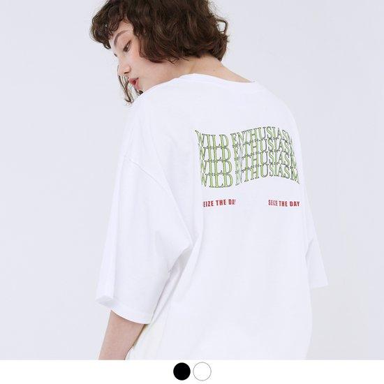 [ACOVER] 웨이빙 레터링 티셔츠