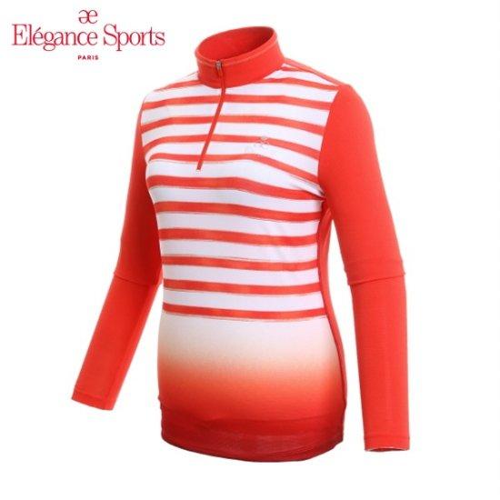 여성용 스트라이프 그라데이션 집업 티셔츠_ELL1TS10_201