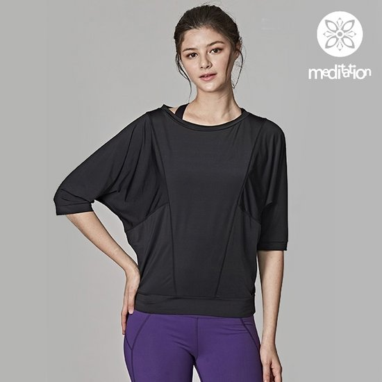[SKN]SNTS7071 블랙 여성 요가복 운동복 티셔츠