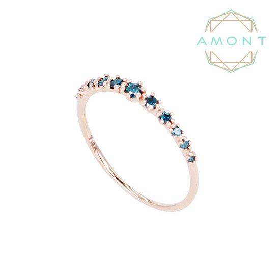 아몽 18K 11개의 청다이아몬드 어렌지 반지