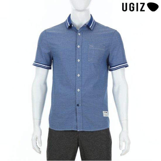 UGIZ  남성 캐주얼 카라 배색 셔츠 블루