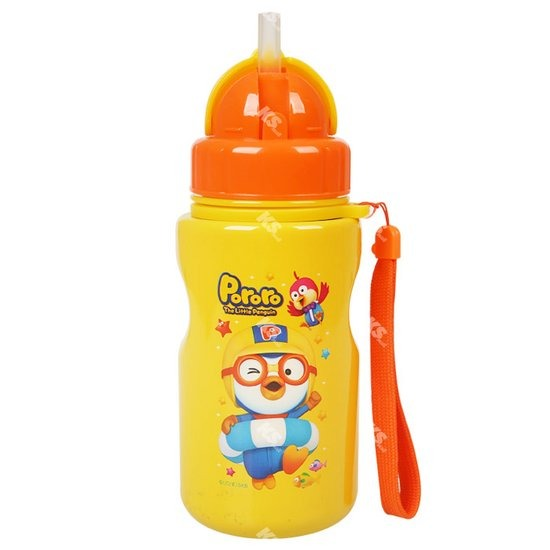 [케이에스몰] 뽀로로 스텐빨대물통 캐릭터 유아식기