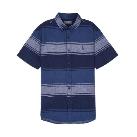 헤지스남성 WHSH7B148N2 컬러배색 린넨혼방 반팔캐주얼셔츠