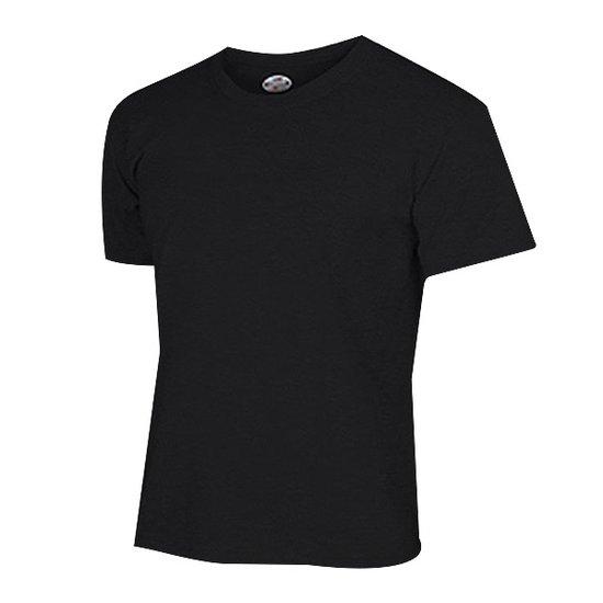면 라운드 티셔츠 블랙
