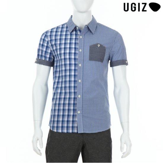 UGIZ  남성 체크 카라 배색 셔츠 블루