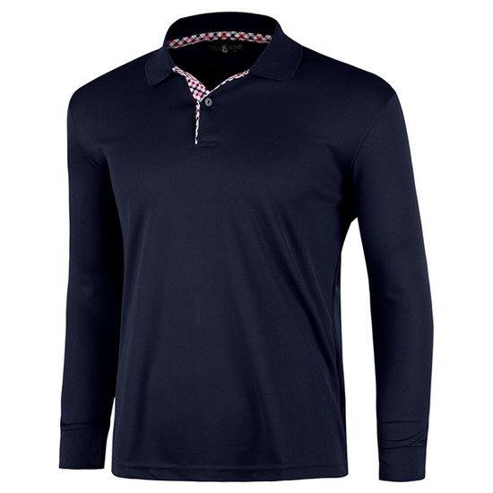 남성 국산 체크넥 긴팔 카라 티셔츠 LM-L99-PK-진네이비