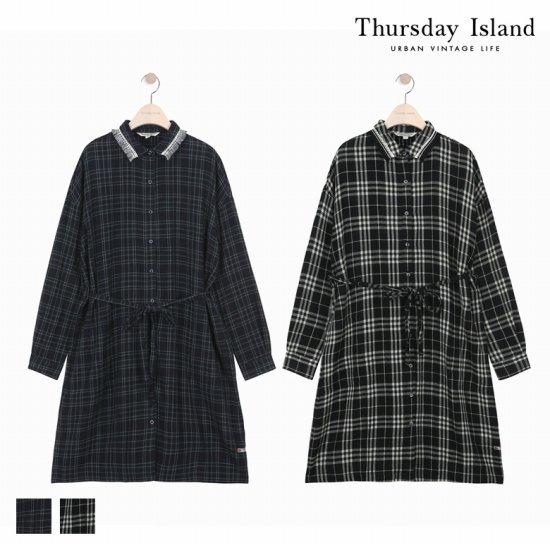 Thursday Island 여성 술장식 셔츠형 체크 원피스T168MOP231W