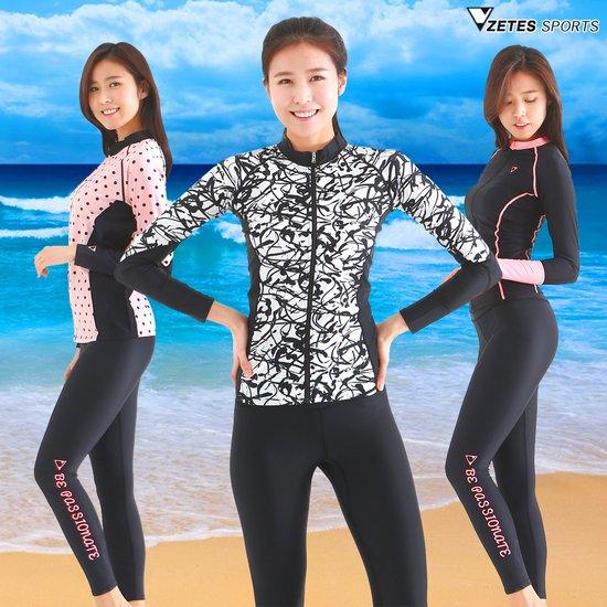 제테스 여성수영복 세트,짚업 래쉬가드+비치레깅스 상하세트
