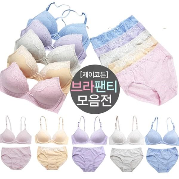 [하프클럽/제이투와이]여성속옷세트 순면노와이어브라팬티10..