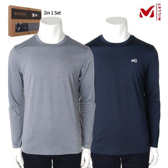 밀레 남성 투인원 라운드 티셔츠 2컬러 세트 MVNFT301