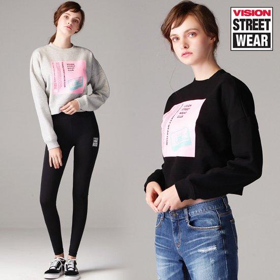 [비젼스트릿웨어] 여성 크롭 프린팅 스웨트 티셔츠
