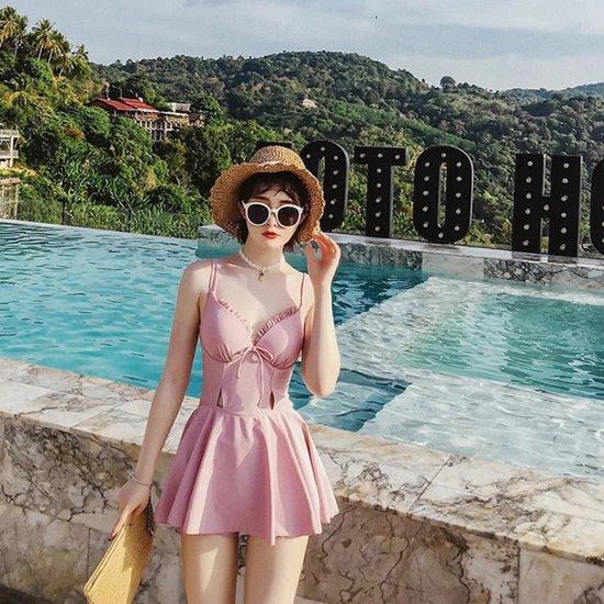 핑크 프릴 원피스 수영복