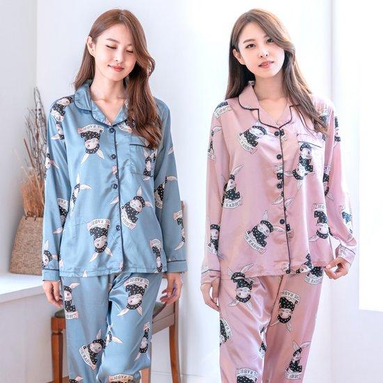 [민트코코아] 여성 잠옷 파자마 샤이닝바니 긴팔세트