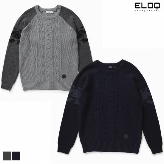 ELOQ 남성 루즈핏 소매패턴 래글런 스웨터B168MSW121M