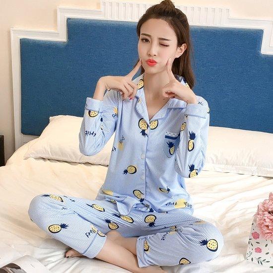[민트코코아] 여성잠옷세트 파인애플라인 긴팔세트