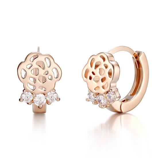 [끄란느] 14K 장미 원터치 귀걸이 gold pin C24EGP065