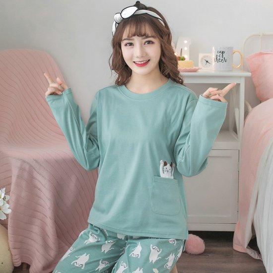 [민트코코아] 여성잠옷세트 빼꼼고양이 긴팔세트