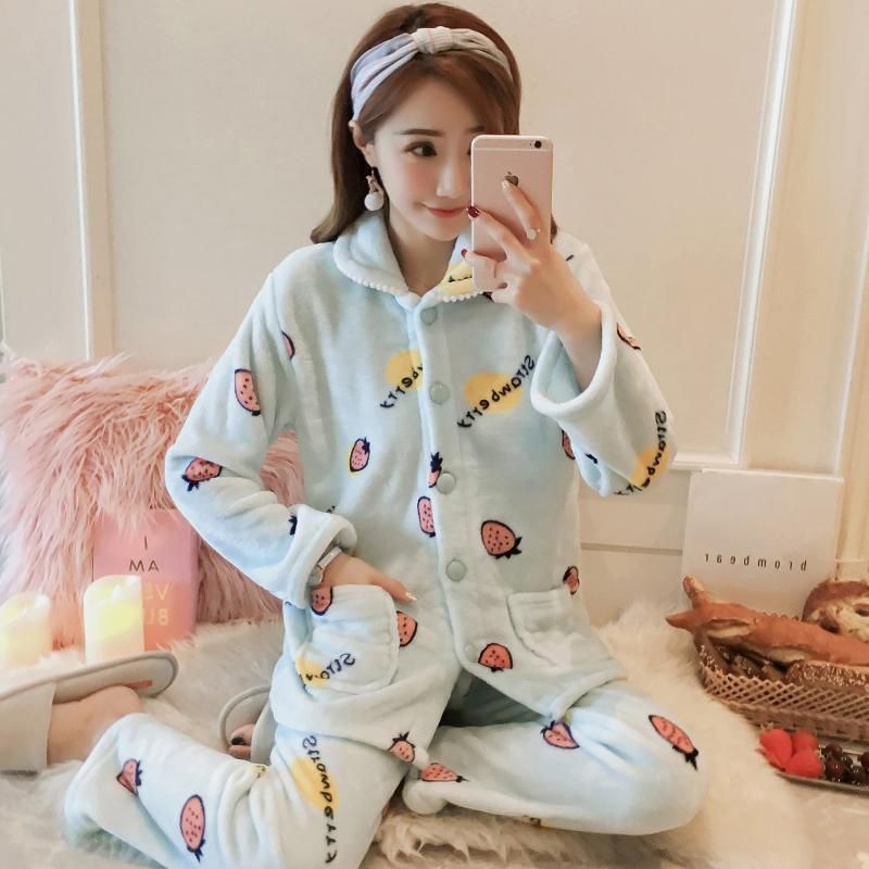 [민트코코아] 오픈딸기 여성수면잠옷 밍크세트