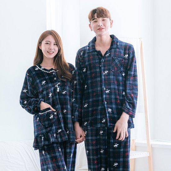 [비버리힐즈폴로클럽] 레드체크 겨울 수면잠옷 밍크세트