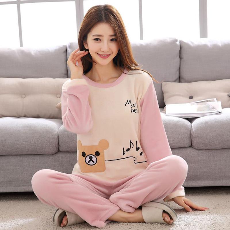 [민트코코아] 뮤직베어 커플잠옷 겨울 수면 밍크세트