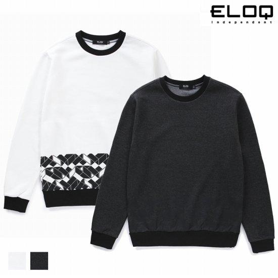ELOQ 남성 그래픽 배색 소매 레터링 맨투맨B168MST133M