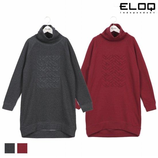 ELOQ 여성 루즈핏 엠보 그래픽 터틀넥 원피스B168MOP162W