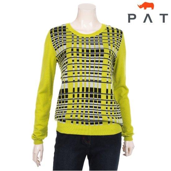 [PAT] 여성 컬러 패턴 배색 라운드 스웨터 1A83302