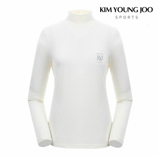 [KIM YOUNG JOO]여성 베이직 로고 포인트 반목 티셔츠KS8WWKT023