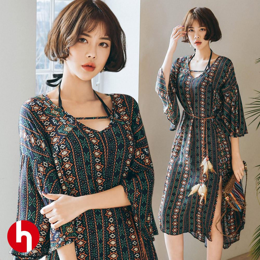 비치원피스 미디움 여름 드레스 쉬폰 H343