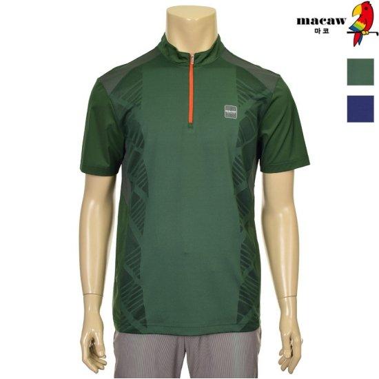 [MACAW] 남성  포인트 Mesh 반집업 티셔츠  4MFM2TH07